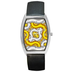 Fractal Background With Golden And Silver Pipes Barrel Style Metal Watch