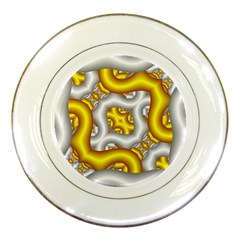 Fractal Background With Golden And Silver Pipes Porcelain Plates