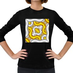 Fractal Background With Golden And Silver Pipes Women s Long Sleeve Dark T Shirts