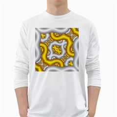 Fractal Background With Golden And Silver Pipes White Long Sleeve T Shirts
