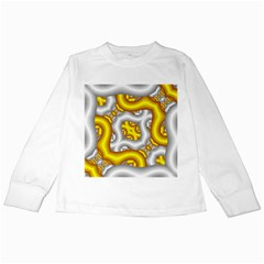 Fractal Background With Golden And Silver Pipes Kids Long Sleeve T Shirts