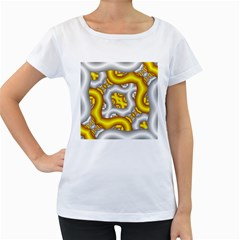 Fractal Background With Golden And Silver Pipes Women s Loose Fit T Shirt (white)
