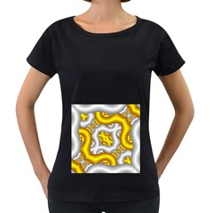 Fractal Background With Golden And Silver Pipes Women s Loose Fit T Shirt (black)