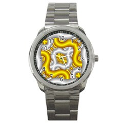 Fractal Background With Golden And Silver Pipes Sport Metal Watch