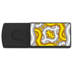 Fractal Background With Golden And Silver Pipes Usb Flash Drive Rectangular (4 Gb)