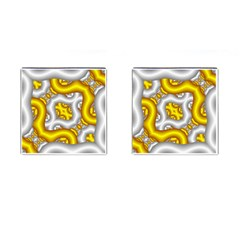 Fractal Background With Golden And Silver Pipes Cufflinks (square)
