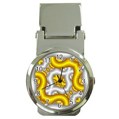 Fractal Background With Golden And Silver Pipes Money Clip Watches