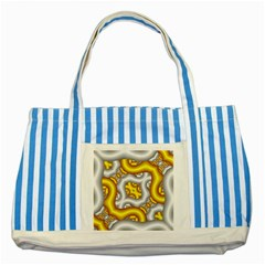 Fractal Background With Golden And Silver Pipes Striped Blue Tote Bag