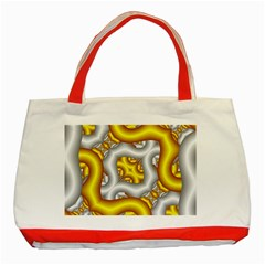 Fractal Background With Golden And Silver Pipes Classic Tote Bag (red)