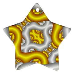 Fractal Background With Golden And Silver Pipes Star Ornament (two Sides)