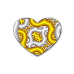 Fractal Background With Golden And Silver Pipes Rubber Coaster (heart)