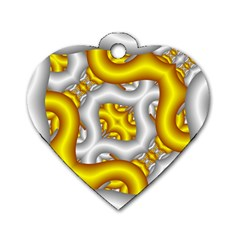 Fractal Background With Golden And Silver Pipes Dog Tag Heart (one Side)