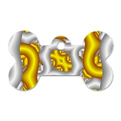 Fractal Background With Golden And Silver Pipes Dog Tag Bone (one Side)