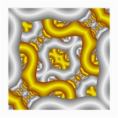 Fractal Background With Golden And Silver Pipes Medium Glasses Cloth