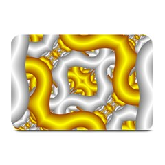 Fractal Background With Golden And Silver Pipes Plate Mats