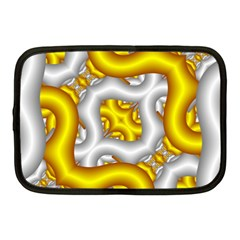 Fractal Background With Golden And Silver Pipes Netbook Case (medium)