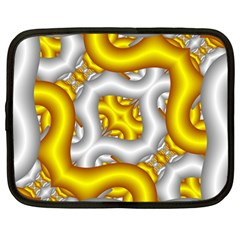 Fractal Background With Golden And Silver Pipes Netbook Case (Large)