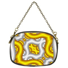 Fractal Background With Golden And Silver Pipes Chain Purses (two Sides)