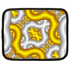Fractal Background With Golden And Silver Pipes Netbook Case (xl)