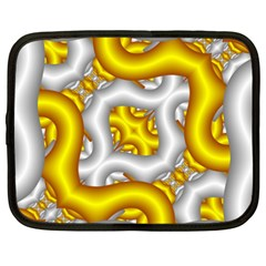 Fractal Background With Golden And Silver Pipes Netbook Case (xxl)