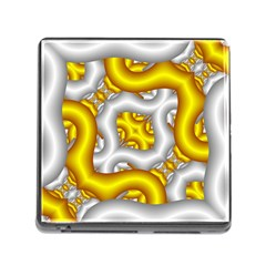 Fractal Background With Golden And Silver Pipes Memory Card Reader (square)