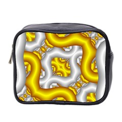 Fractal Background With Golden And Silver Pipes Mini Toiletries Bag 2 Side