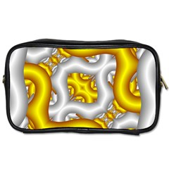 Fractal Background With Golden And Silver Pipes Toiletries Bags