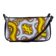 Fractal Background With Golden And Silver Pipes Shoulder Clutch Bags
