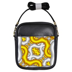 Fractal Background With Golden And Silver Pipes Girls Sling Bags