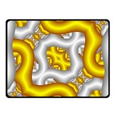 Fractal Background With Golden And Silver Pipes Fleece Blanket (Small)