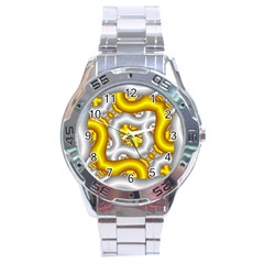 Fractal Background With Golden And Silver Pipes Stainless Steel Analogue Watch