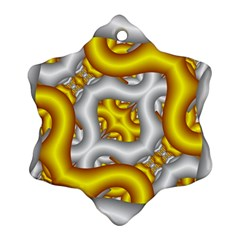 Fractal Background With Golden And Silver Pipes Ornament (snowflake)