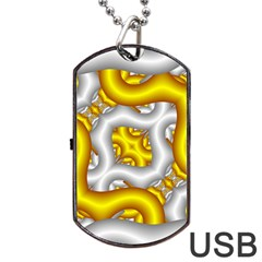 Fractal Background With Golden And Silver Pipes Dog Tag USB Flash (One Side)
