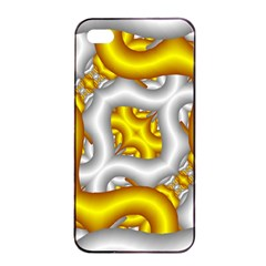 Fractal Background With Golden And Silver Pipes Apple Iphone 4/4s Seamless Case (black)