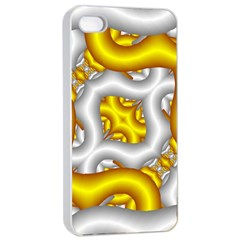 Fractal Background With Golden And Silver Pipes Apple Iphone 4/4s Seamless Case (white)