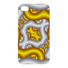 Fractal Background With Golden And Silver Pipes Apple iPhone 4/4S Premium Hardshell Case