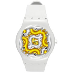 Fractal Background With Golden And Silver Pipes Round Plastic Sport Watch (m)