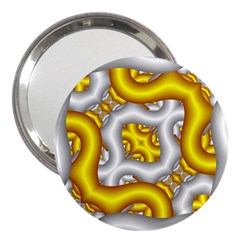 Fractal Background With Golden And Silver Pipes 3  Handbag Mirrors