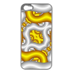 Fractal Background With Golden And Silver Pipes Apple Iphone 5 Case (silver)