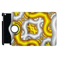 Fractal Background With Golden And Silver Pipes Apple Ipad 2 Flip 360 Case