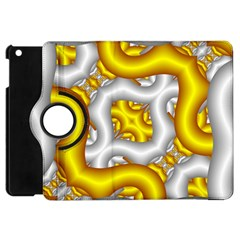 Fractal Background With Golden And Silver Pipes Apple Ipad Mini Flip 360 Case