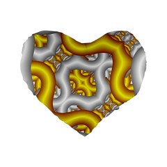 Fractal Background With Golden And Silver Pipes Standard 16  Premium Heart Shape Cushions