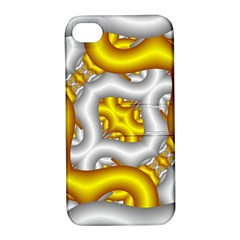 Fractal Background With Golden And Silver Pipes Apple iPhone 4/4S Hardshell Case with Stand