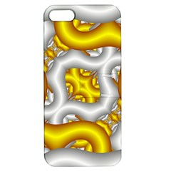 Fractal Background With Golden And Silver Pipes Apple Iphone 5 Hardshell Case With Stand