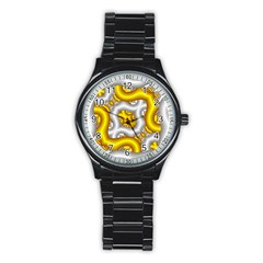 Fractal Background With Golden And Silver Pipes Stainless Steel Round Watch