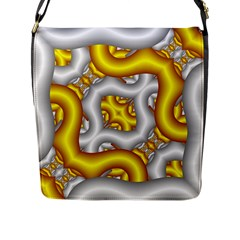Fractal Background With Golden And Silver Pipes Flap Messenger Bag (l)