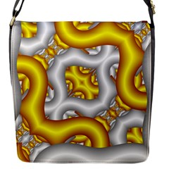 Fractal Background With Golden And Silver Pipes Flap Messenger Bag (S)