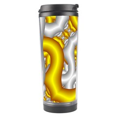 Fractal Background With Golden And Silver Pipes Travel Tumbler