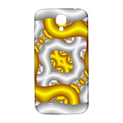 Fractal Background With Golden And Silver Pipes Samsung Galaxy S4 I9500/i9505  Hardshell Back Case