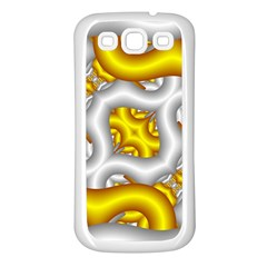 Fractal Background With Golden And Silver Pipes Samsung Galaxy S3 Back Case (White)